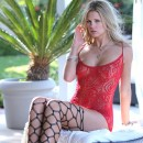 Scarlet Red fishnet stockings