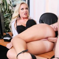 Bailey Brooke sexy blonde fucked on office table in stockings